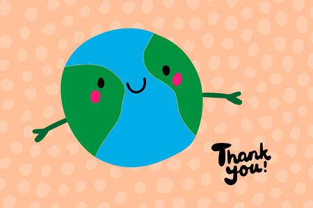 Thank you hand drawn vector illustration in cartoon style. Cheerful planet earth and lettering