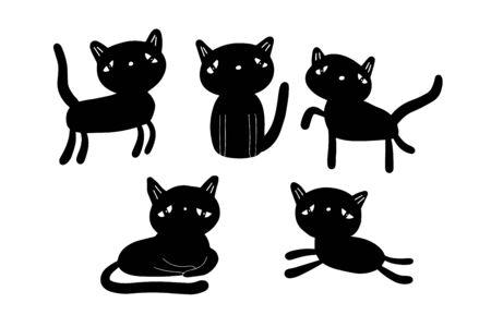 Sad cats hand drawn vector set illustration in cartoon style. Contour silhouette minimalism