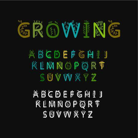 Growing hand drawn vector type glowing hand drawn illustration alphabet green black