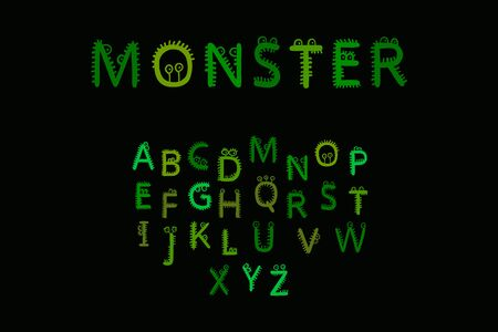 Monster hand drawn vector font in cartoon style fur and eyes alive letters Ilustrace