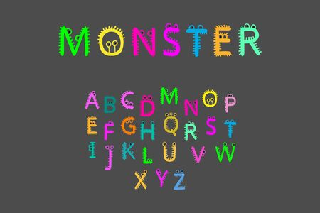 Monster hand drawn vector font in cartoon style fur and eyes alive letters Illustration