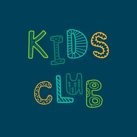 Kids club hand drawn vector illustration decorative green blue orange
