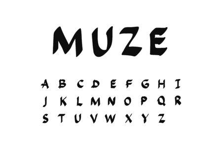 Muze hand drawn vector illustration font alphabet
