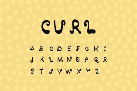Curl hand drawn vector illustration font alphabet