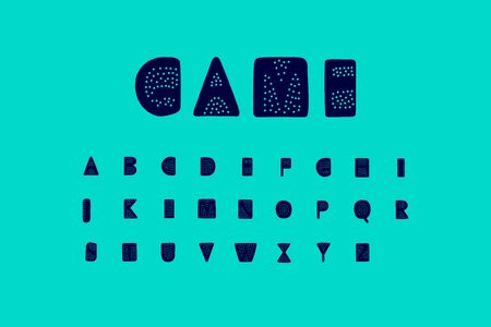 Game hand drawn vector font illustration with dots holes