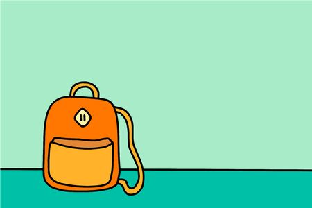 Back to school backpack for student hand drawn vector illustration in castoon style Illustration
