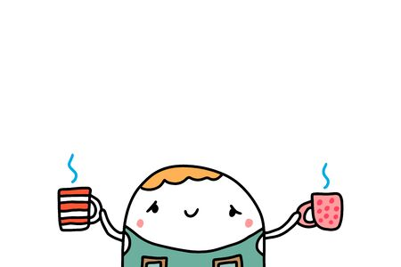 Cute barista holding two cups with hot coffee hand drawn vector illustration on white background
