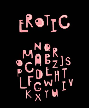 Erotic hand drawn vector illustration alphabet font sexy style pink skin color on black background
