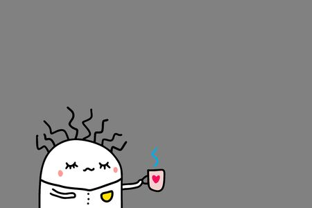 Broken man drinking coffee in the morning. Grey background, Hand drawn vector illustration in cartoon style Ilustrace