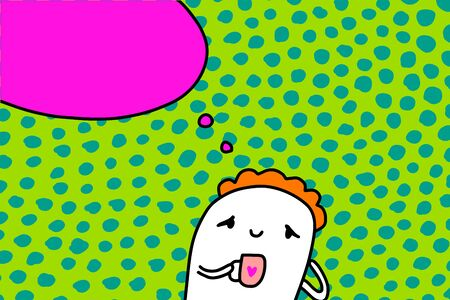 Cute cartoon man thinking while drinking hot coffee hand drawn vector illustration green pink orange