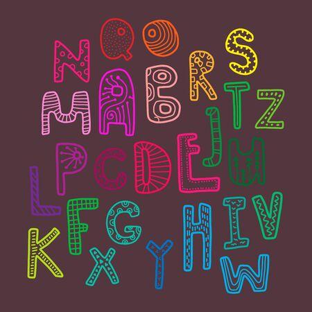 Rainbow kids decorative font crazy letters hand drawn illustration alphabet funny Illustration