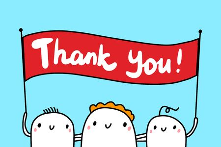 Thank you hand drawn vector illustration in cartoon style. Group of businessmen holding sign red white Illustration