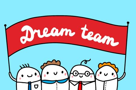 Dream team hand drawn vector illustration with cute cartoon people businessmen on blue background