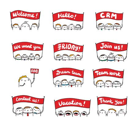 Set of businessmen with banners. Cute cartoon people holding sighns. background