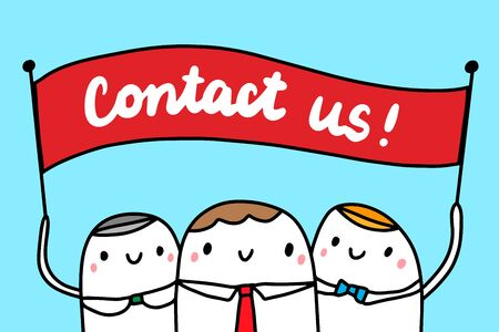 Contact us hand drawn vector illustration with cartoon businessmen people minimalism Ilustrace