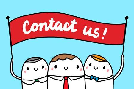 Contact us hand drawn vector illustration with cartoon businessmen people minimalism Illustration