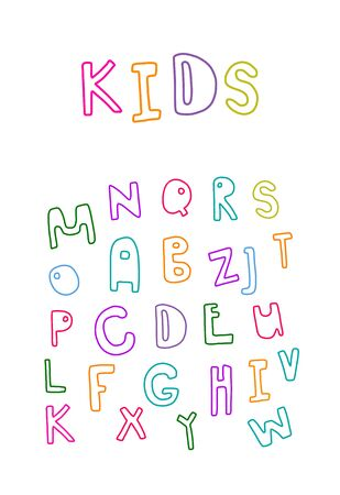 Kids hand drawn vector font decorative playful letters alphabet colorful rainbow letters on white background