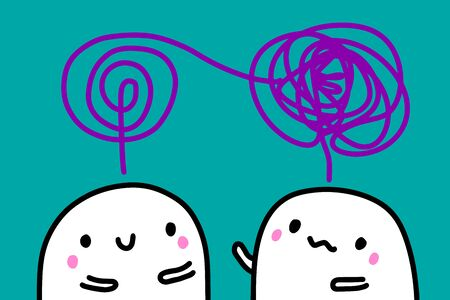 Psychotherapy analysis session. Patient and doctor talking, cute cartoon people violet turquoise white Ilustrace