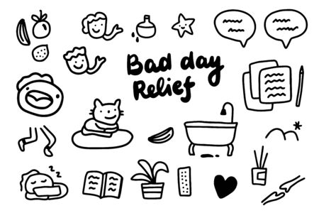 Bad day relief hand drawn vector illustration with cartoon elements lettering black white