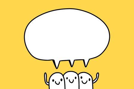 Three friends cartoon team hand drawn vector illustration talking speech bubble minimalism on yellow background