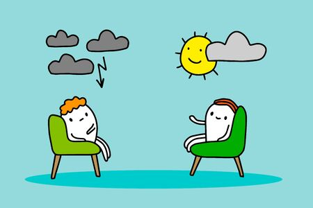 Psychotherapy session hand drawn vector illustration in cartoon style. Two man sitting in chairs talking mood like weather