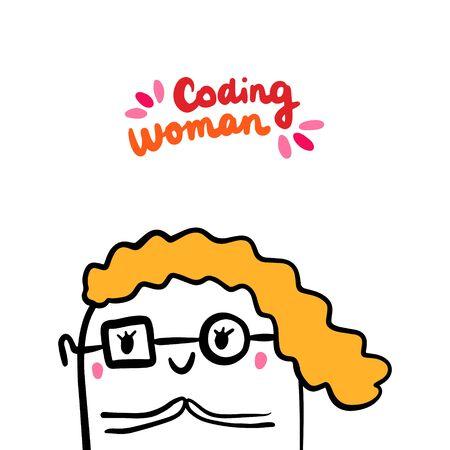 Coding woman hand drawn vector illustration in cartoon style. Programmer feminism cute
