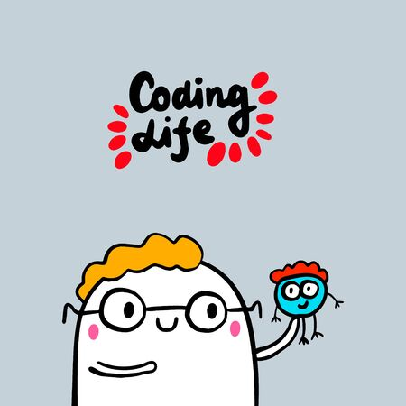 Coding life hand drawn vector illustration in cartoon style. Man holding programmer cute small