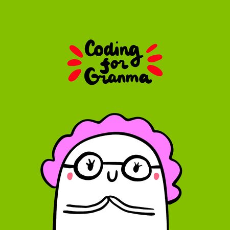 Coding for grandmother hand drawn vector illustration in cartoon style old lady programmer
