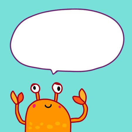 Orange crab and speech bubble hand drawn vector illustration in cartoon style turquoise background Ilustrace