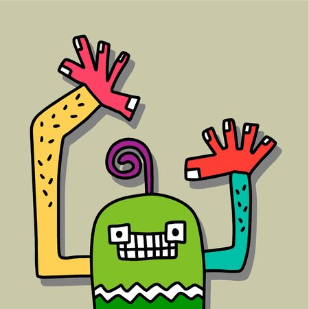 Colorful monster hand drawn vector illustration in cartoon style. Sticker or print for t shirt minimalism