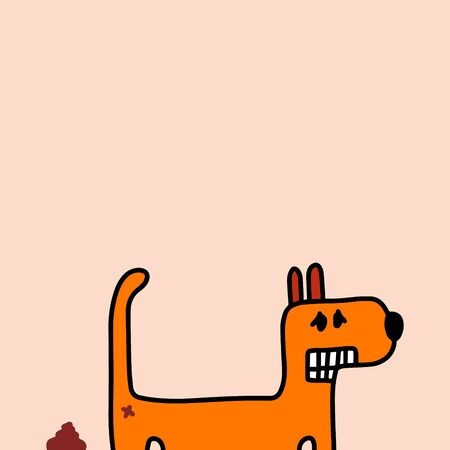 Dog poops hand drawn vector illustration in cartoon style orange minimalism