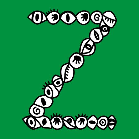 Z hand drawn vector letter with eye symbols in different forms in cartoon style on green background Ilustração