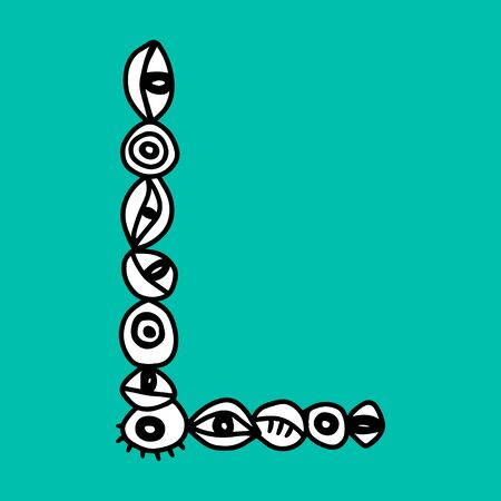 L hand drawn vector letter with eye symbols in different forms in cartoon style on turquoise background