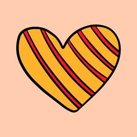 Yellow red textile heart knitted vector illustration element hand drawn in cartoon style minimalism