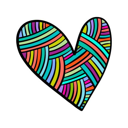 Rainbow textile heart knitted vector illustration element hand drawn in cartoon style minimalism