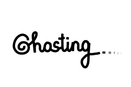 Ghosting hand drawn vector illustration lettering contrast black white grey lettering cartoon style Иллюстрация