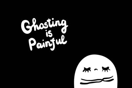 Ghosting is painful hand drawn vector illustration in cartoon style. Sad man upset depression broken relationship Ilustrace