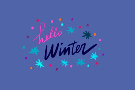 Hello winter hand drawn vector illustration with lettering blue pink purple stars dots christmas time