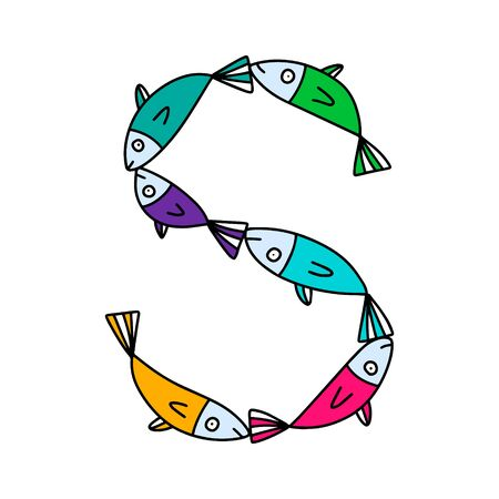 S letter hand drawn vector illustration sardines form in cartoon style rainbow colors
