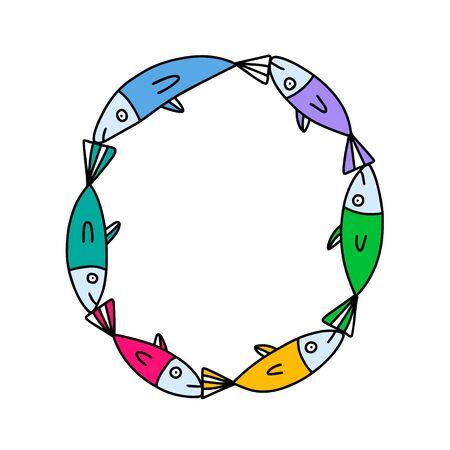 O letter hand drawn vector illustration sardines form in cartoon style rainbow colors Ilustração