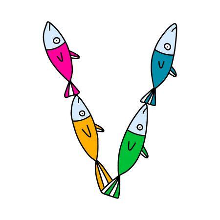 V letter hand drawn vector illustration sardines form in cartoon style rainbow colors Vektorové ilustrace