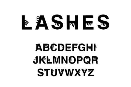 Lashes hand drawn vector illustration in cartoon style abc alphabet black white contrast 版權商用圖片 - 130407602