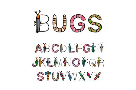 Bugs hand drawn vector lettering alphabet in cartoon style insects abc for kids colorful
