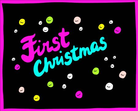 First christmas hand drawn vector illustration in cartoon style with smiling faces black neon colors Çizim