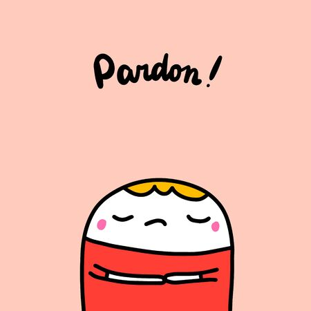 Pardon hand drawn vector illustration in cartoon style boy in red shirt having trouble closed eyes in cartoon comic style