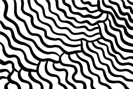 Fondo disegnato a mano della carta da parati di vettore delle onde astratte nel contrasto bianco nero di stile del fumetto Vettoriali