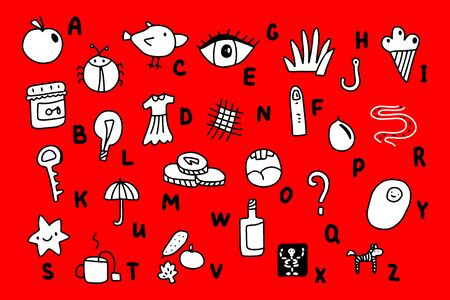 Crazy abstract alphabet in cartoon style hand drawn illustration comic. Abc with apple eye chicken yolk star jam berry finger xray ice cream star money grass hook umbrella road light bulb wine zebra tea dress bug white black red contrast Banco de Imagens - 131728752