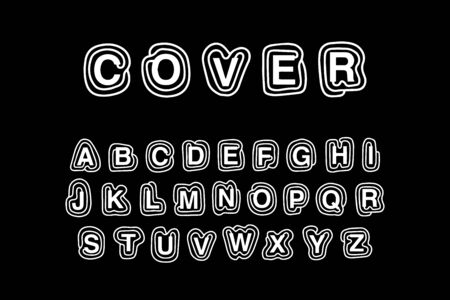 Cover hand drawn vector abc alphabet in cartoon comic style. Black white colors contrast line Ilustração