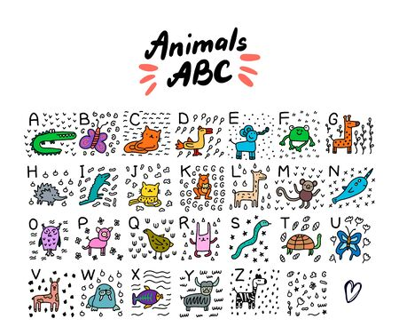 Animals abc alphabet hand drawn vector illustration in cartoon style set alligator cat jaguar turtle fish lama frog snake butterfly monkey owl rabbit wild domestic poster print kids.