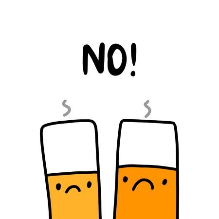 No hand drawn vector illustration with sad cigarettes health protection poster